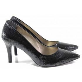 Дамски обувки на висок ток - еко кожа-лак - черни - EO-15357