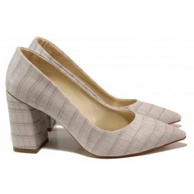 Дамски обувки на висок ток - висококачествена еко-кожа - светлосив - EO-15358