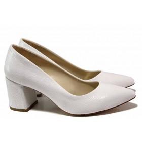 Дамски обувки на висок ток - висококачествена еко-кожа - бели - EO-15356