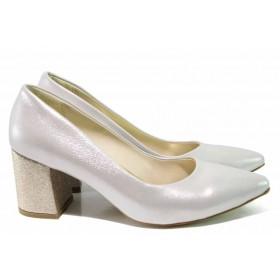 Дамски обувки на висок ток - висококачествена еко-кожа - светлобежов - EO-15355