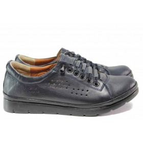 Равни дамски обувки - естествена кожа - черни - EO-15449