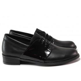 Равни дамски обувки - естествена кожа с естествен лак - черни - EO-15463