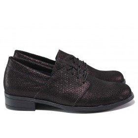 Равни дамски обувки - естествена кожа - бордо - EO-15464