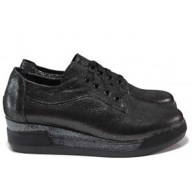 Дамски обувки на платформа - естествена кожа - черни - EO-15465
