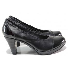 Дамски обувки на висок ток - естествена кожа с естествен лак - черни - EO-15461