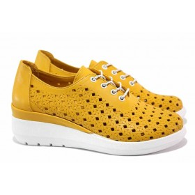 Дамски обувки на платформа - естествена кожа - жълти - EO-15483