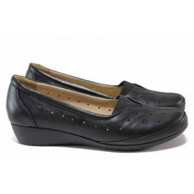 Дамски обувки на платформа - естествена кожа - черни - EO-15484