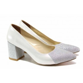 Дамски обувки на висок ток - висококачествена еко-кожа - сребро - EO-15488