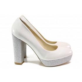 Дамски обувки на висок ток - висококачествена еко-кожа - сребро - EO-15486