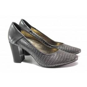 Дамски обувки на висок ток - висококачествена еко-кожа - сиви - EO-15485
