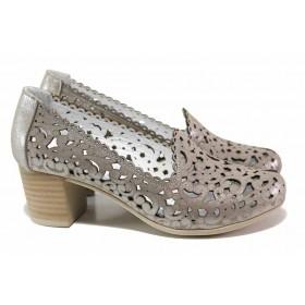Дамски обувки на среден ток - естествена кожа - бежови - EO-15491
