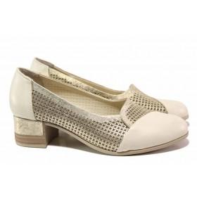 Дамски обувки на среден ток - естествена кожа - бежови - EO-15490