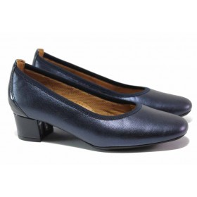 Дамски обувки на среден ток - естествена кожа - сини - EO-15493