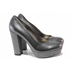 Дамски обувки на висок ток - естествена кожа - сиви - EO-15547