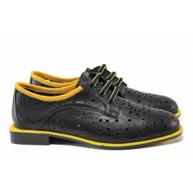 Равни дамски обувки - естествена кожа - черни - EO-15546