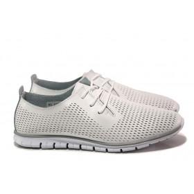 Равни дамски обувки - естествена кожа - бели - EO-15554