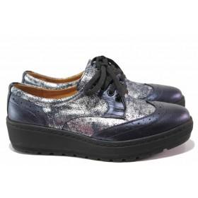 Дамски обувки на платформа - естествена кожа - сини - EO-15605