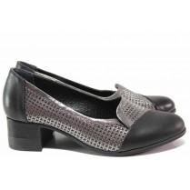 Дамски обувки на среден ток - естествена кожа - черни - EO-15606