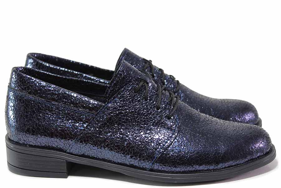 Равни дамски обувки - естествена кожа - сини - EO-15614