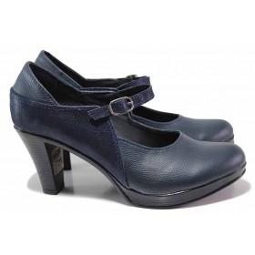 Дамски обувки на висок ток - естествена кожа - сини - EO-15612