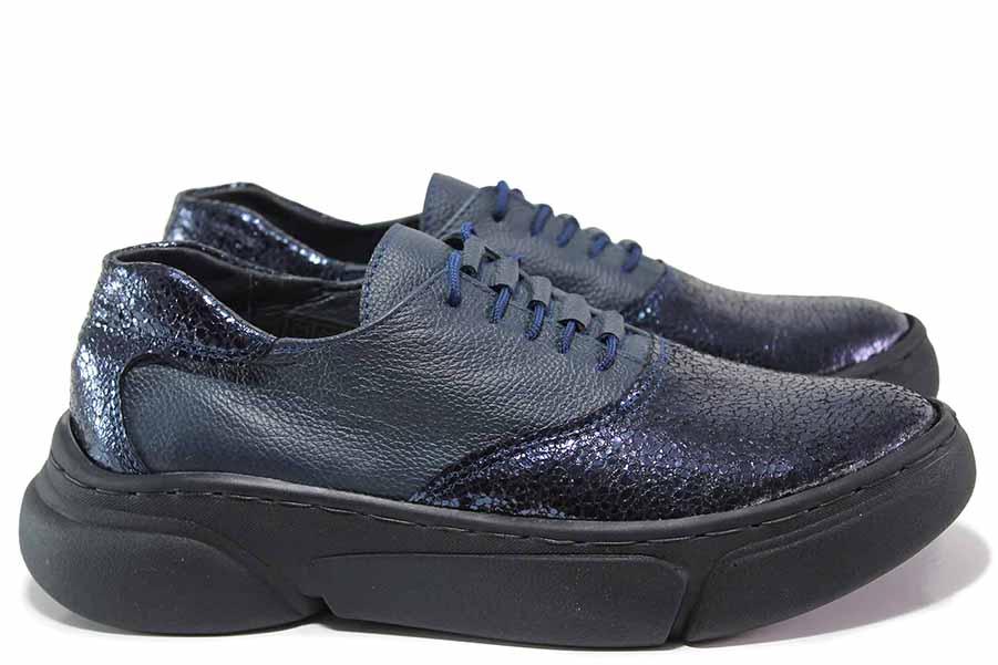 Дамски спортни обувки - естествена кожа - сини - EO-15611