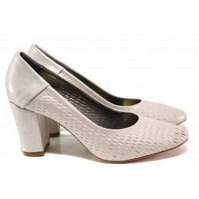 Дамски обувки на висок ток - висококачествена еко-кожа - светлосив - EO-15623