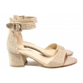 Дамски сандали - текстилен материал с брокат - бежови - EO-15625