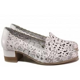 Дамски обувки на среден ток - естествена кожа - бели - EO-15628