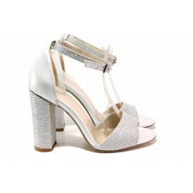Дамски сандали - висококачествена еко-кожа - сребро - EO-15642