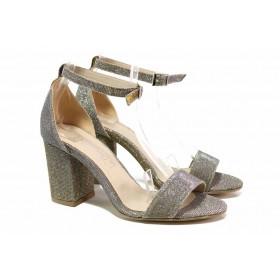 Дамски сандали - висококачествена еко-кожа - сребро - EO-15644
