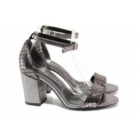 Дамски сандали - висококачествена еко-кожа - сребро - EO-15645