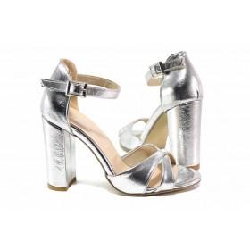 Дамски сандали - висококачествена еко-кожа - сребро - EO-15639
