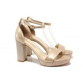 Дамски сандали - висококачествена еко-кожа - жълти - EO-15671