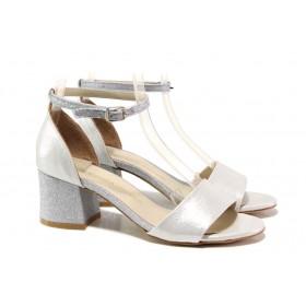 Дамски сандали - висококачествена еко-кожа - сребро - EO-15673