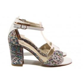 Дамски сандали - висококачествена еко-кожа - бели - EO-15683