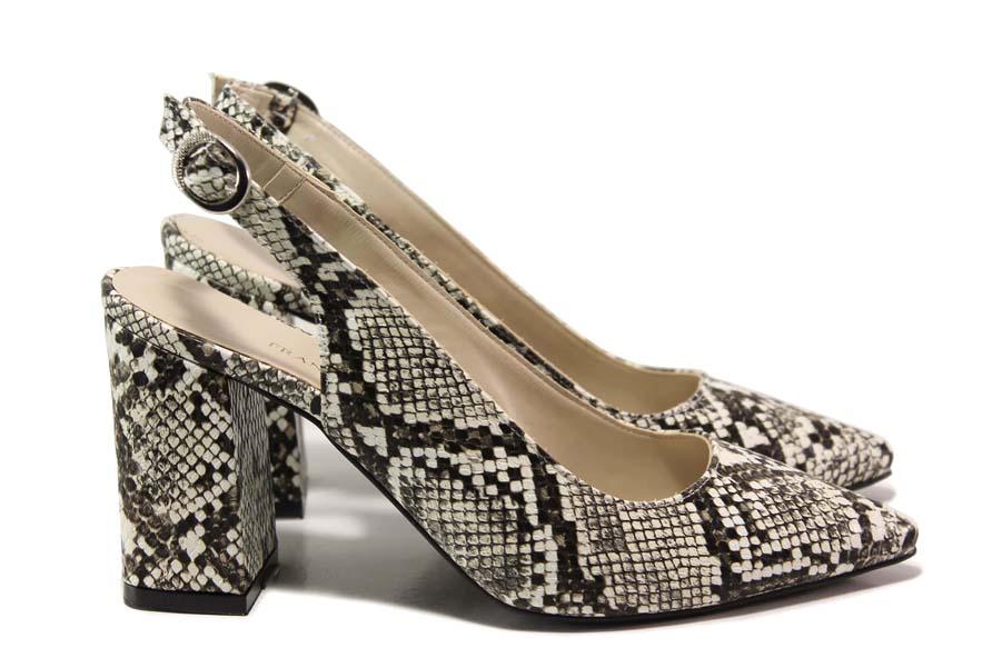 """Дамски обувки на висок ток - еко-кожа с """"кроко"""" мотив - бежови - EO-15679"""