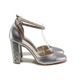 Дамски обувки на висок ток - висококачествена еко-кожа - сребро - EO-15680