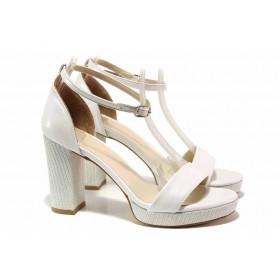 Дамски сандали - висококачествена еко-кожа - сребро - EO-15672