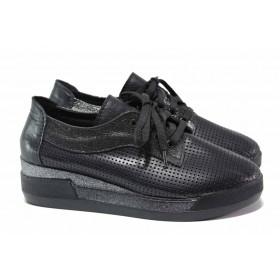 Дамски обувки на платформа - естествена кожа - черни - EO-15801