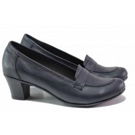 Дамски обувки на среден ток - естествена кожа - тъмносин - EO-15761