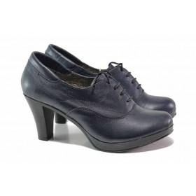 Дамски обувки на висок ток - естествена кожа - тъмносин - EO-15762