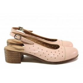 Дамски обувки на среден ток - естествена кожа - розови - EO-15803
