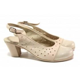 Дамски обувки на среден ток - естествена кожа - бежови - EO-15804