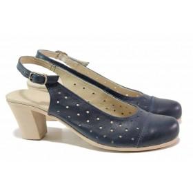 Дамски обувки на среден ток - естествена кожа - тъмносин - EO-15806