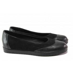 Равни дамски обувки - естествена кожа с естествен велур - черни - EO-15778