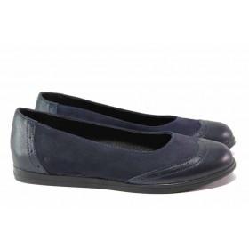 Равни дамски обувки - естествена кожа с естествен велур - тъмносин - EO-15779