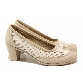 Дамски обувки на среден ток - естествена кожа - бежови - EO-15812