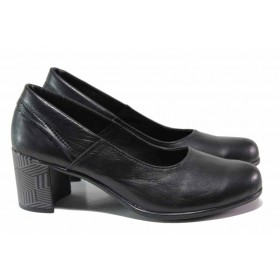Дамски обувки на среден ток - естествена кожа - черни - EO-15810
