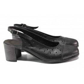 Дамски обувки на среден ток - естествена кожа - черни - EO-15809