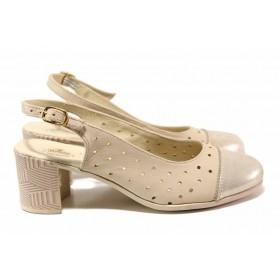Дамски обувки на среден ток - естествена кожа - бежови - EO-15808